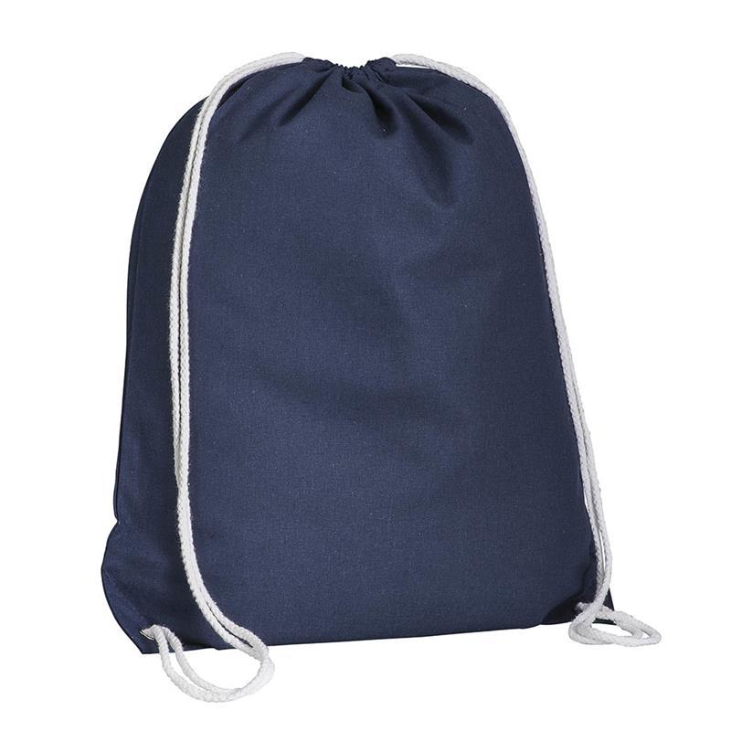 sacca in cotone blu navy con lacci in cotone bianco
