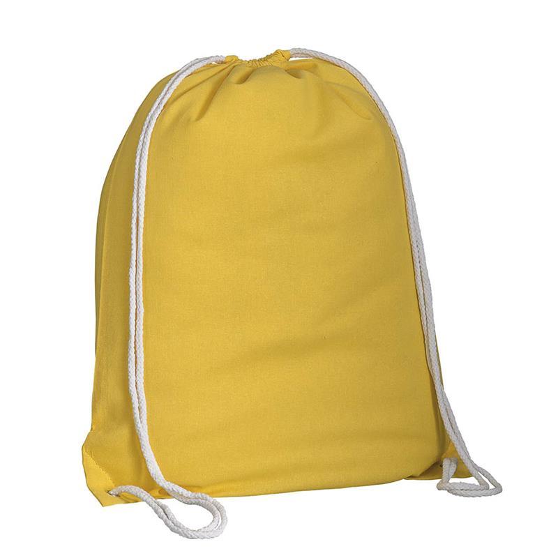sacca in cotone giallo con lacci in cotone bianco