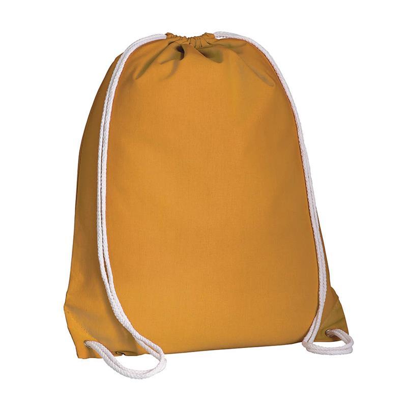 sacca in cotone arancio con lacci in cotone bianco