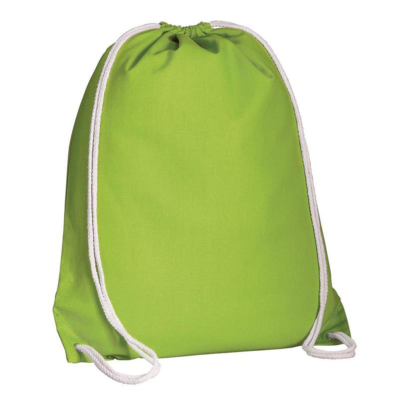 zaino in cotone verde con lacci in cotone bianco
