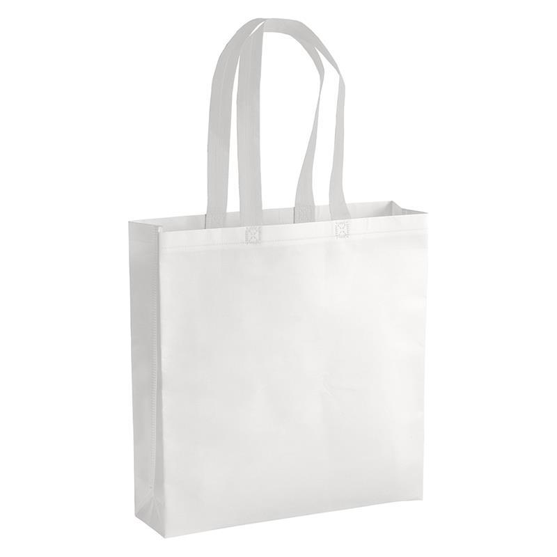 shopper in tnt laminato bianco con soffietti e manici tnt bianchi