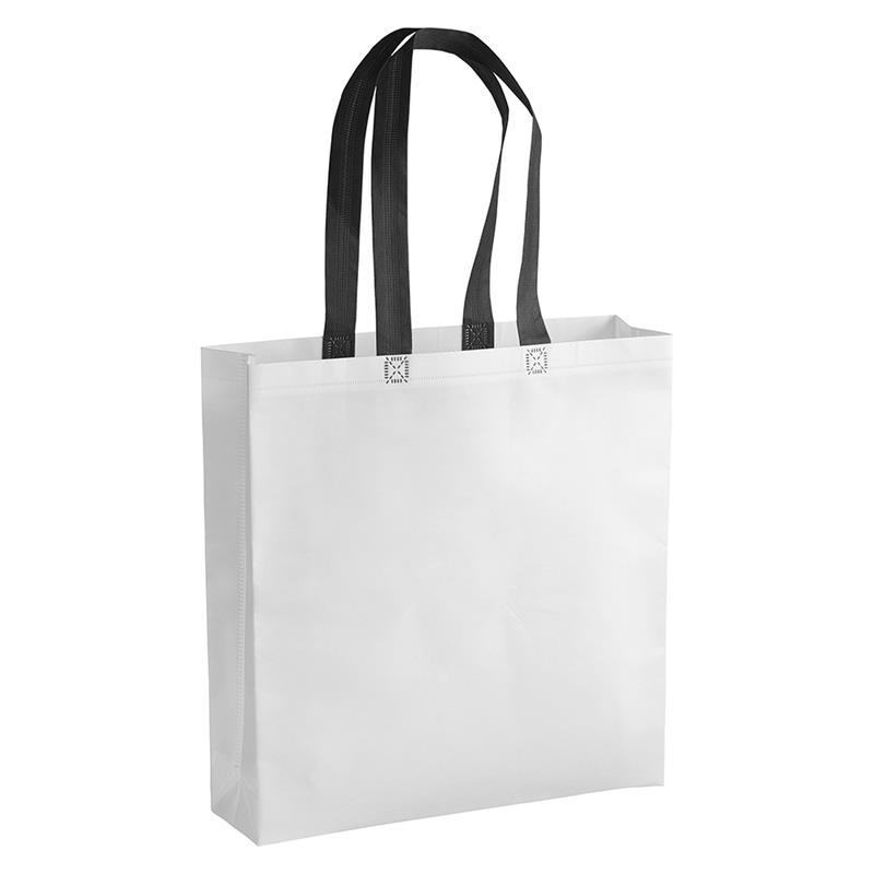 shopper in tnt laminato bianco con soffietti e manici tnt neri