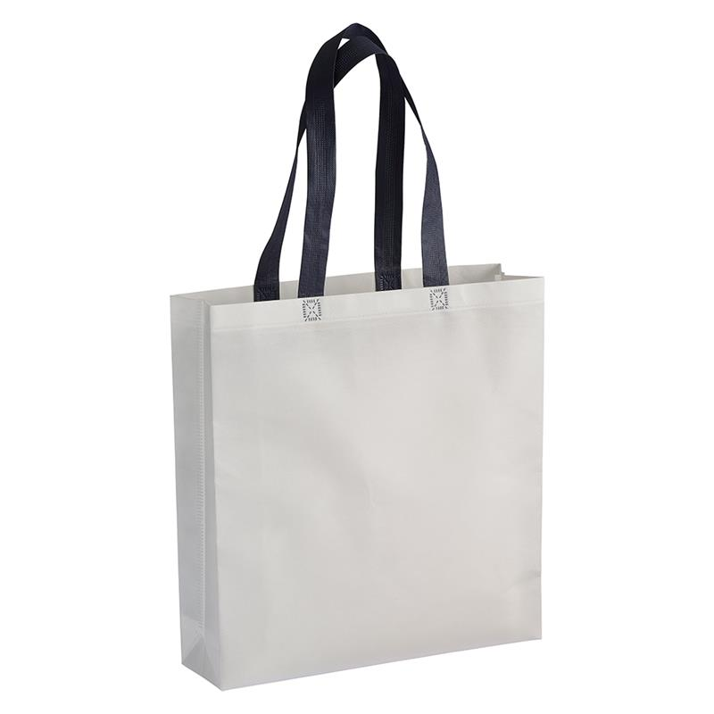 shopper in tnt laminato bianco con soffietti e manici tnt blu navy