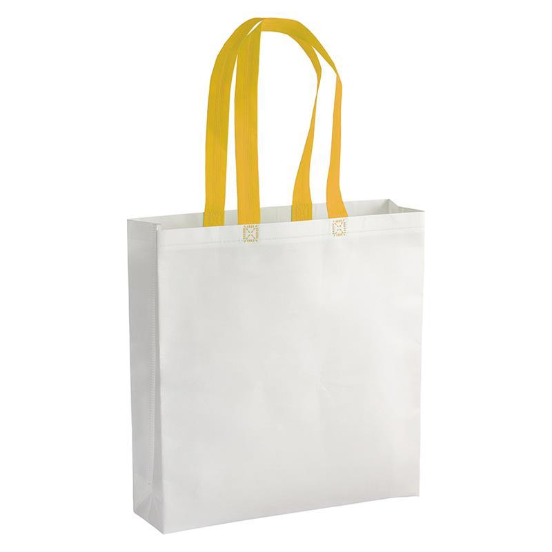 shopper in tnt laminato bianco con soffietti e manici tnt gialli