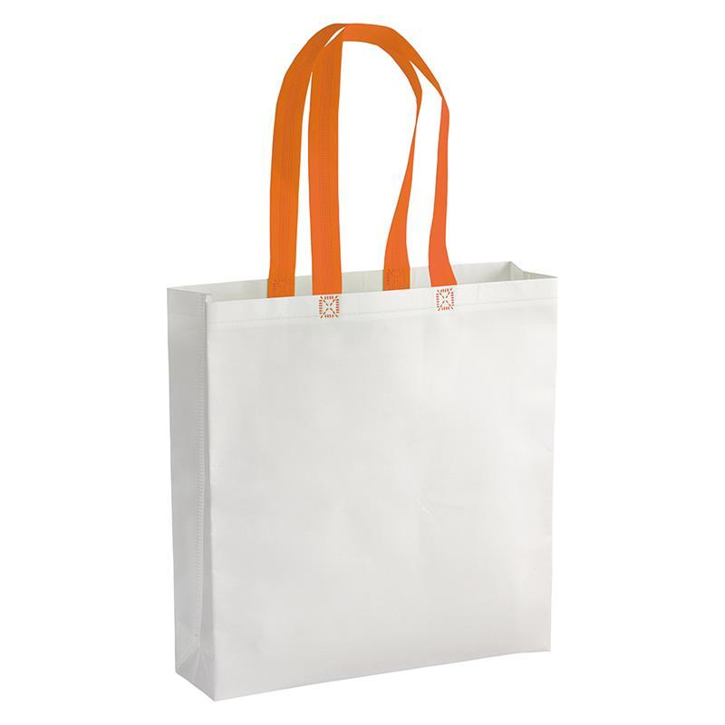 shopper in tnt laminato bianco con soffietti e manici tnt arancio