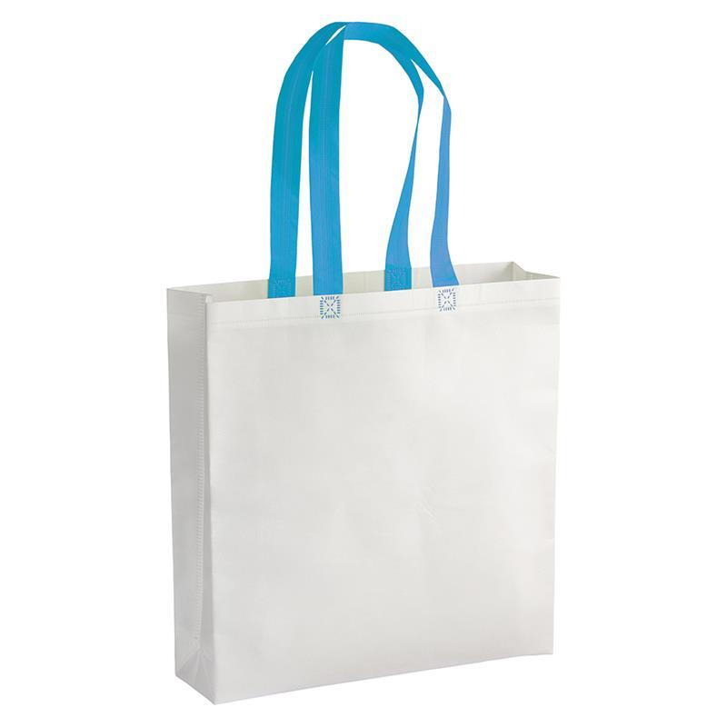 shopper in tnt laminato bianco con soffietti e manici tnt celesti