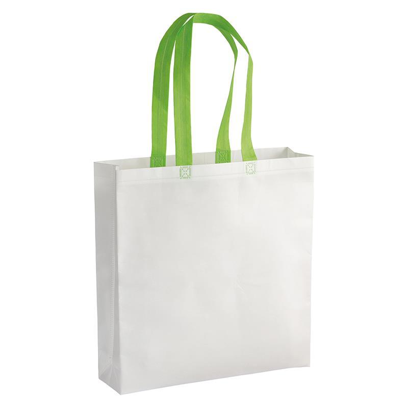 shopper in tnt laminato bianco con soffietti e manici tnt verde mela