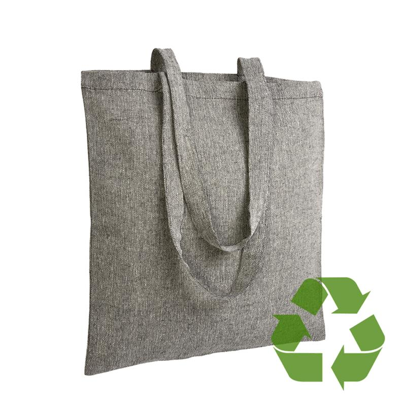 shopper in cotone riciclato nero effetto melange senza soffietti
