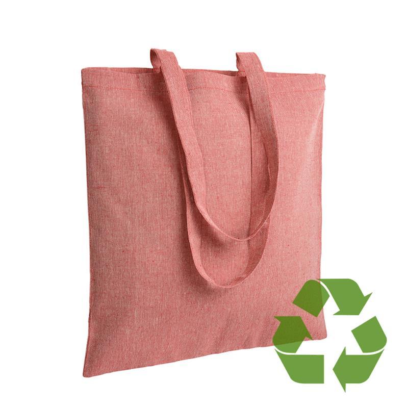 shopper in cotone riciclato rosso effetto melange senza soffietti