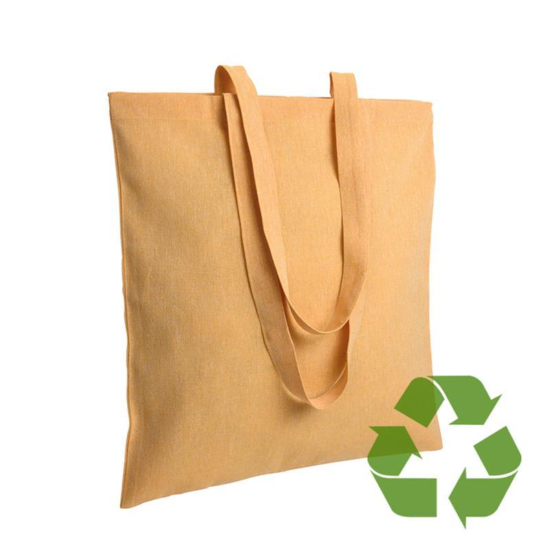 shopper in cotone riciclato giallo effetto melange senza soffietti