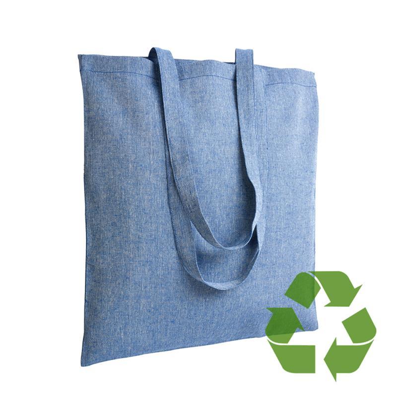 shopper in cotone riciclato blu royal effetto melange senza soffietti