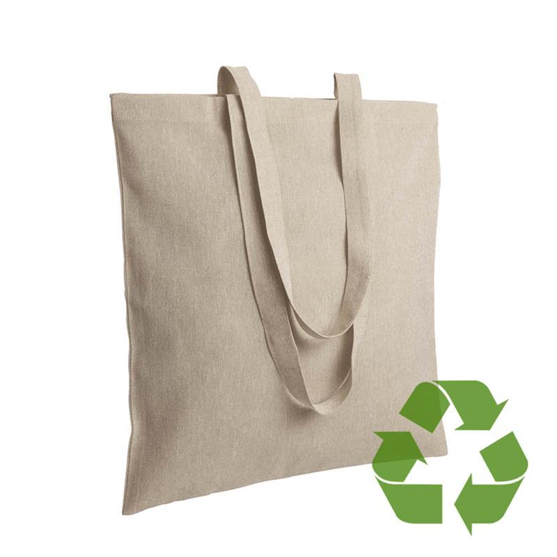 shopper in cotone riciclato naturale effetto melange senza soffietti