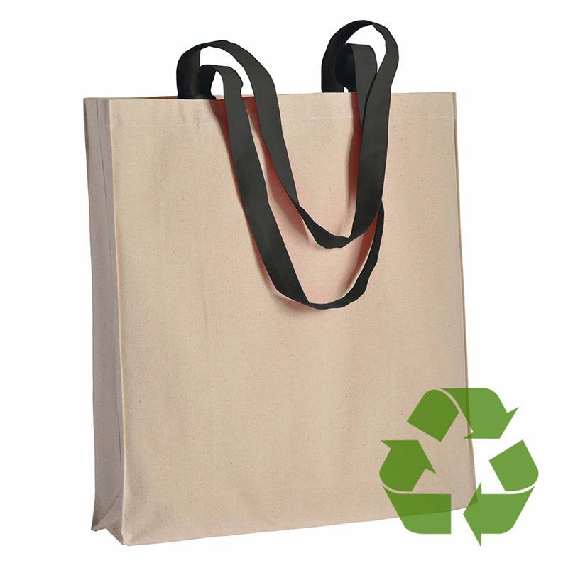 shopper in cotone naturale con soffietti e manici cotone nero