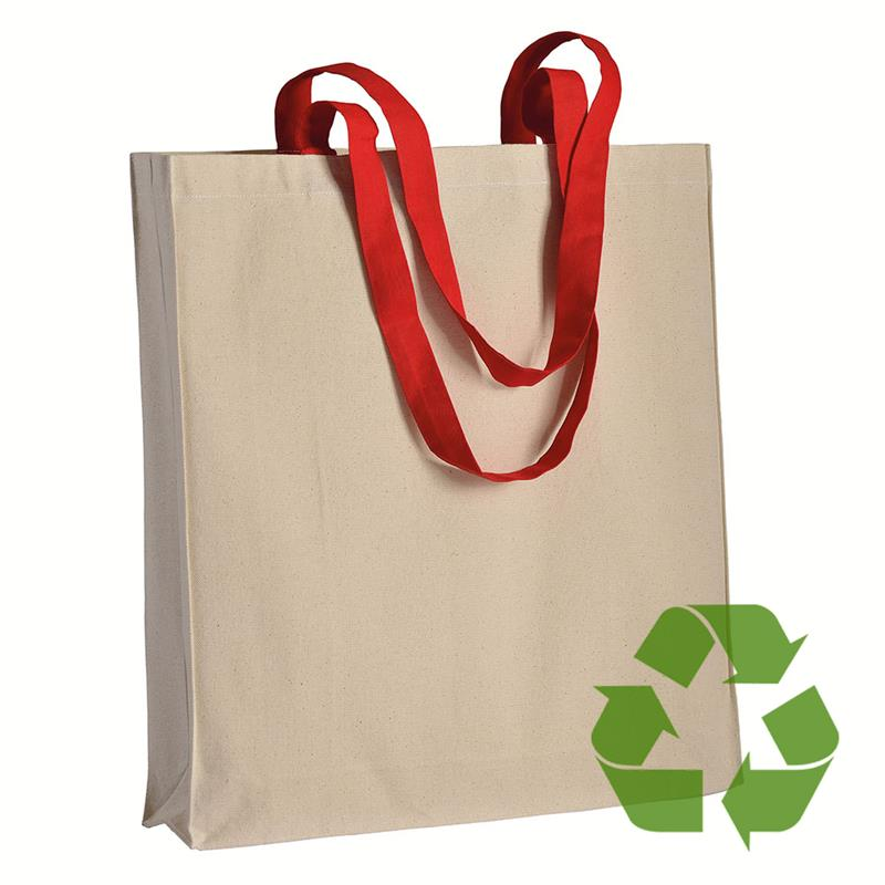 shopper in cotone naturale con soffietti e manici cotone rosso