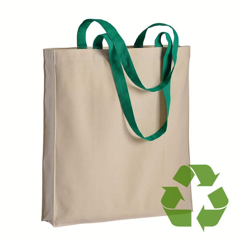 shopper in cotone naturale con soffietti e manici cotone verde