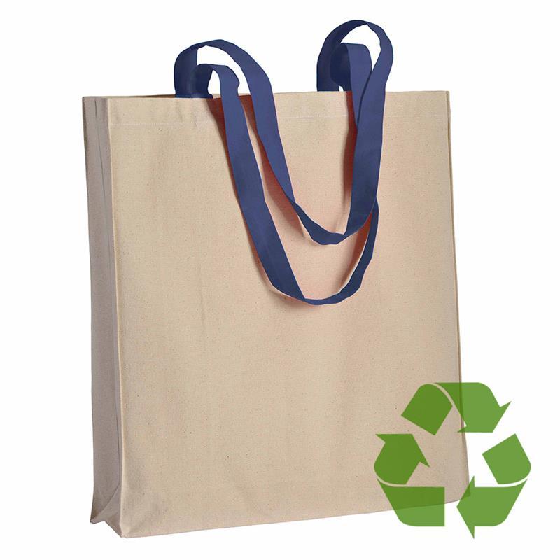 shopper in cotone naturale con soffietti e manici cotone blu navy
