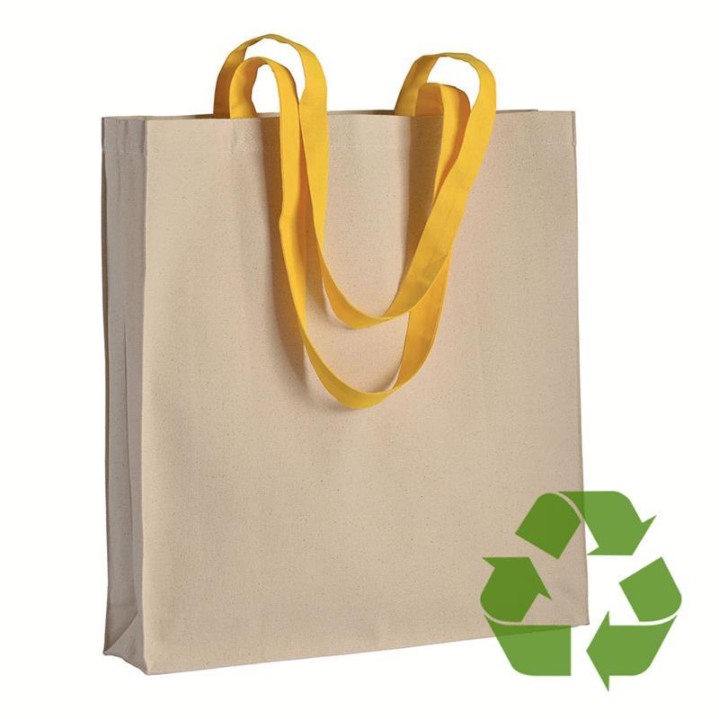 shopper in cotone naturale con soffietti e manici cotone giallo