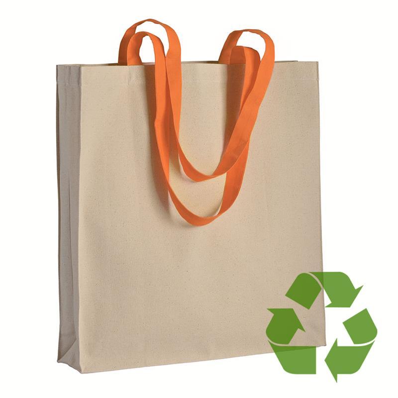 shopper in cotone naturale con soffietti e manici cotone arancio