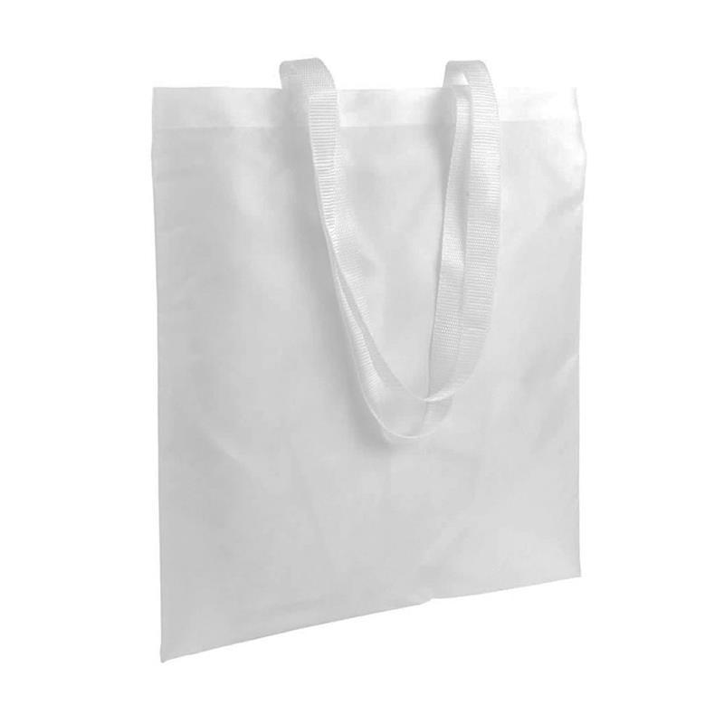 shopper in poliestere bianco senza soffietti manici bianchi