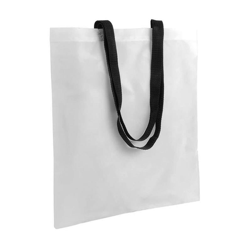 shopper in poliestere bianco senza soffietti manici neri