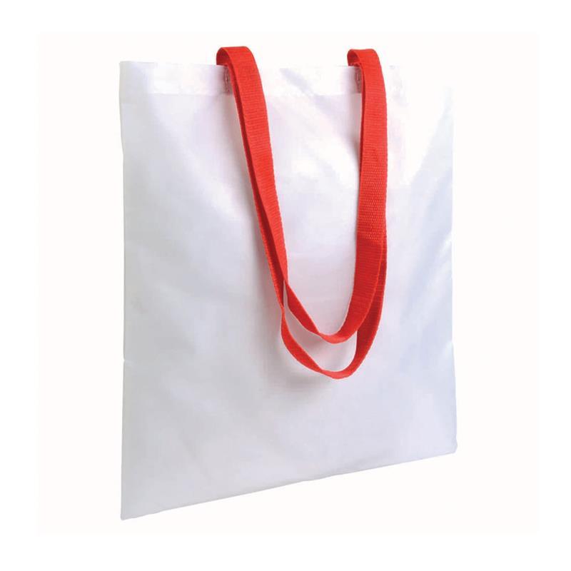 shopper in poliestere bianco senza soffietti manici rossi