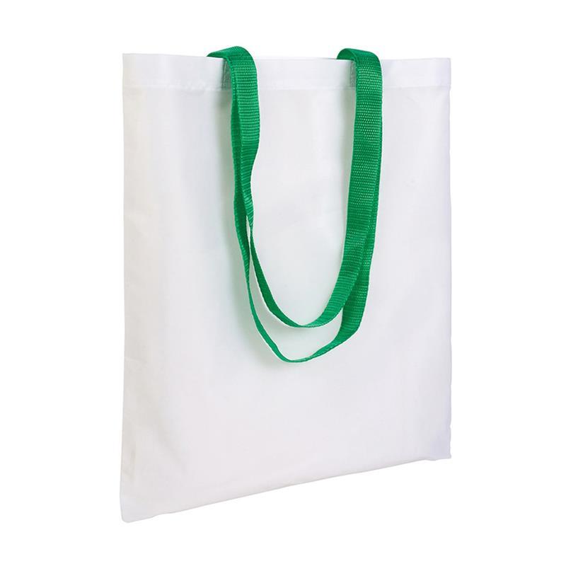 shopper in poliestere bianco senza soffietti manici verdi