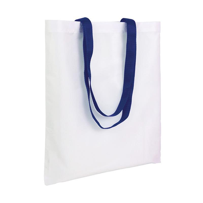 shopper in poliestere bianco senza soffietti manici blu navy