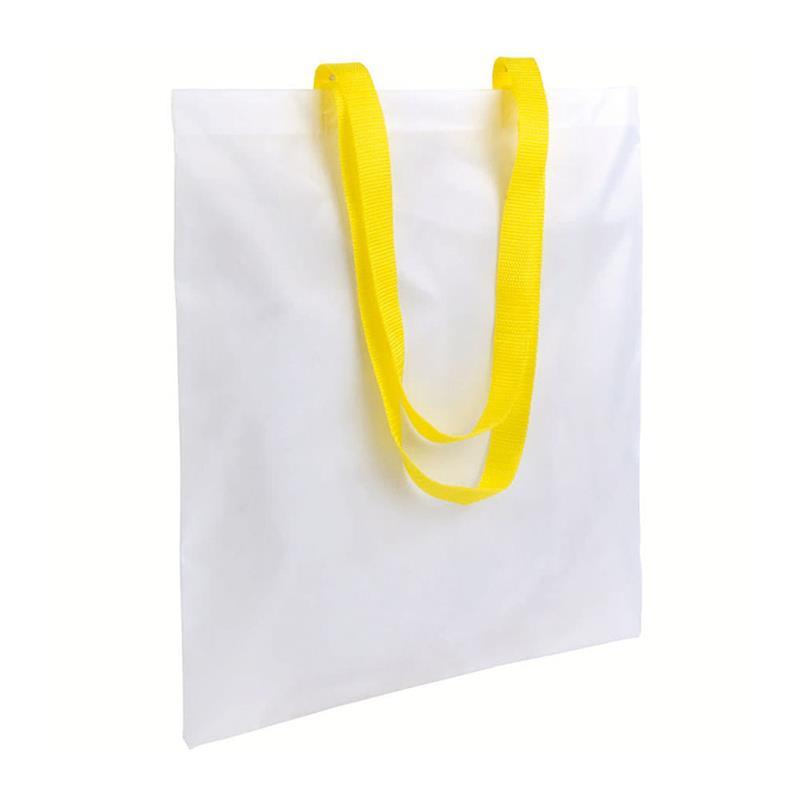 shopper in poliestere bianco senza soffietti manici gialli