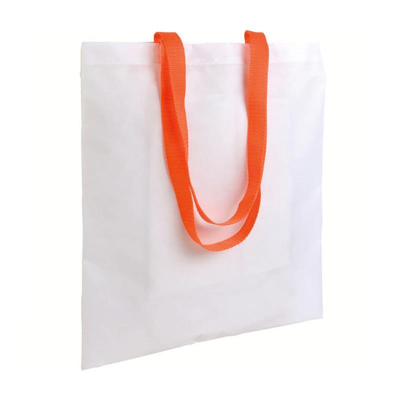 shopper in poliestere bianco senza soffietti manici arancio