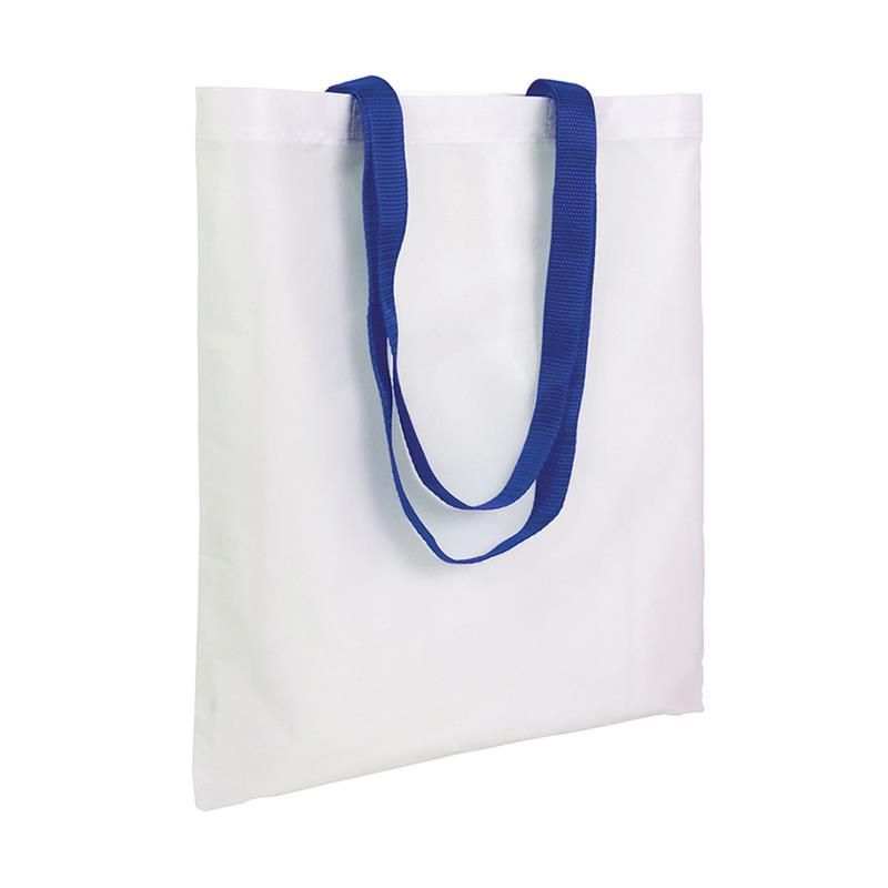 shopper in poliestere bianco senza soffietti manici blu royal