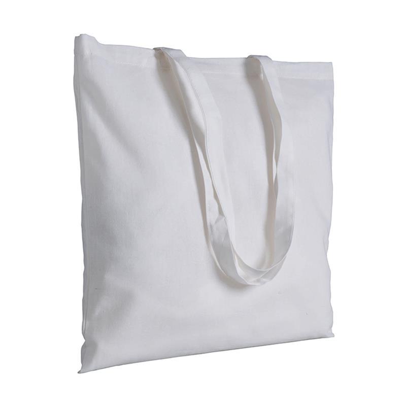 shopper in cotone bianco senza soffietti manici cotone