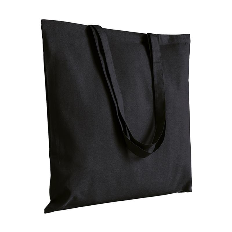 shopper in cotone nero senza soffietti manici cotone