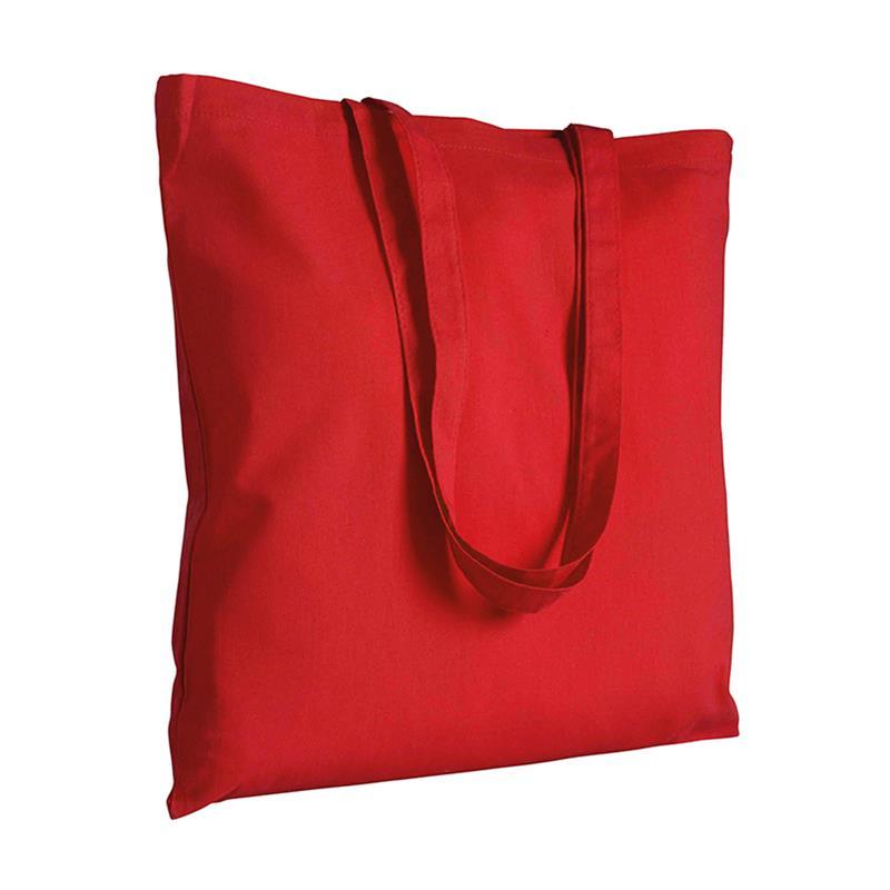 shopper in cotone rosso senza soffietti manici cotone