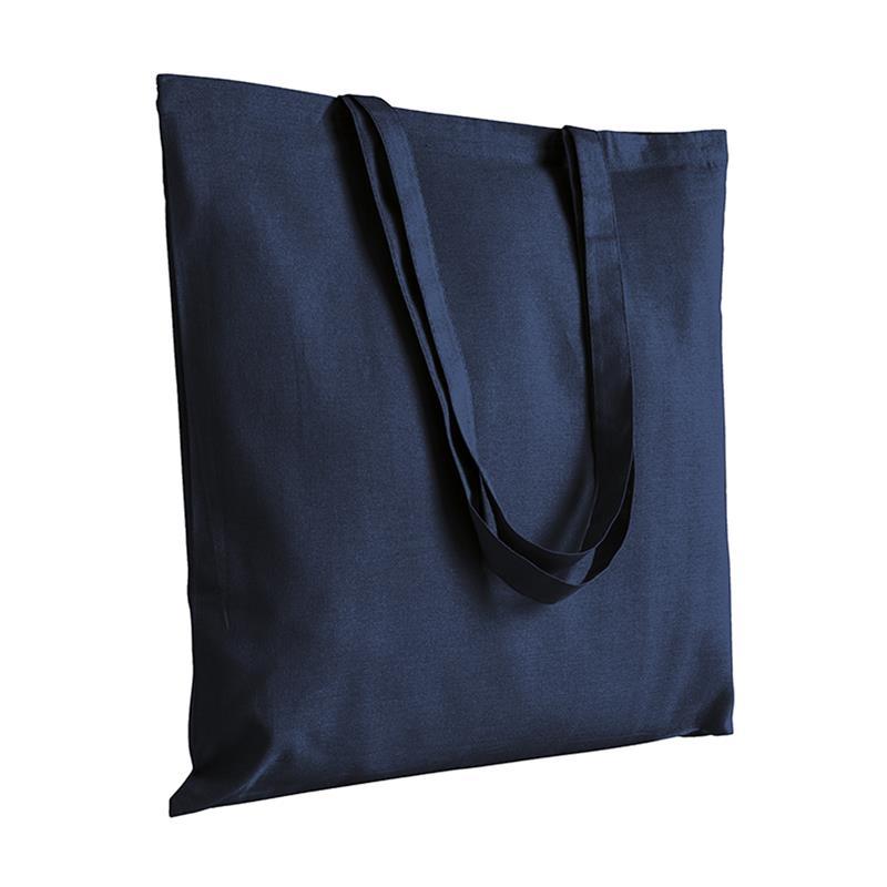 shopper in cotone blu navy senza soffietti manici cotone