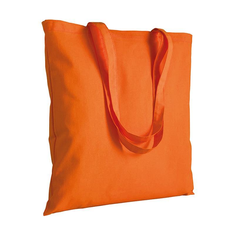 shopper in cotone arancio senza soffietti manici cotone