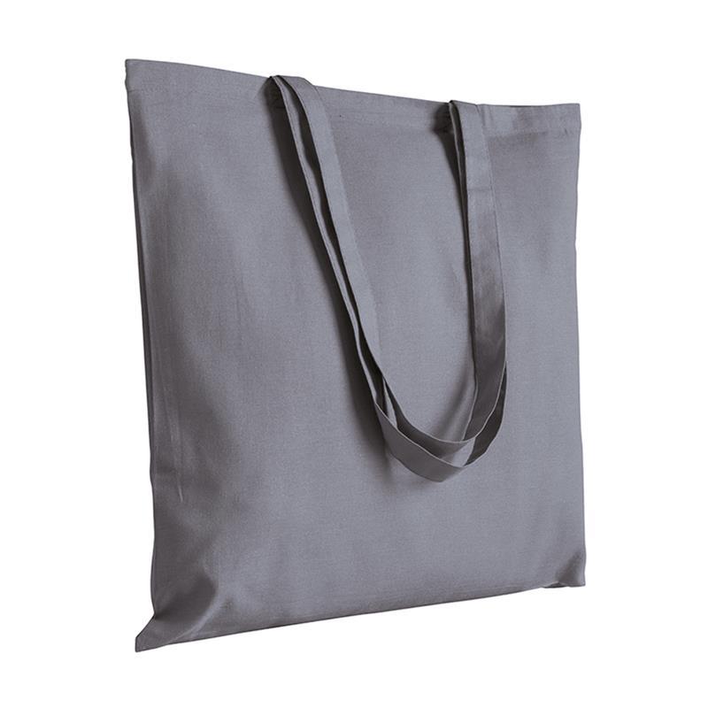 shopper in cotone grigio senza soffietti manici cotone