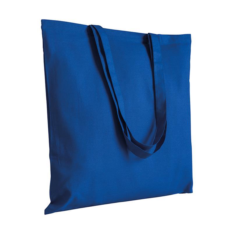 shopper in cotone blu royal senza soffietti manici cotone