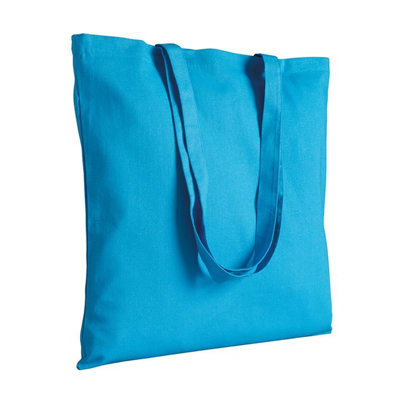 shopper in cotone celeste senza soffietti manici cotone