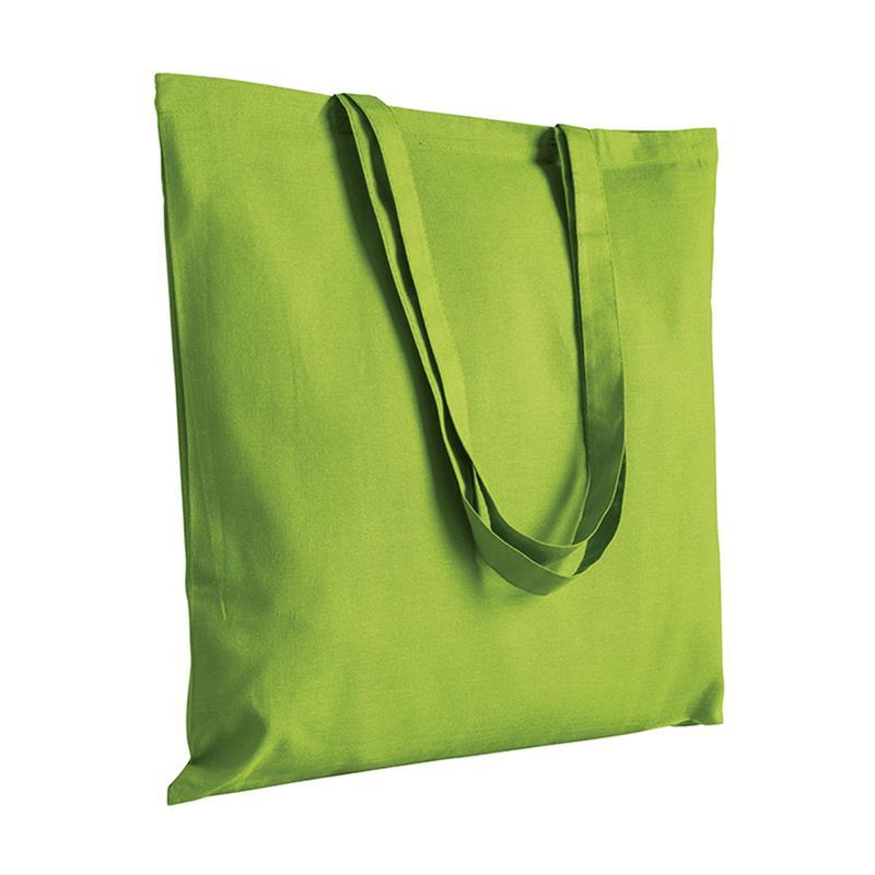 shopper in cotone verde mela senza soffietti manici cotone