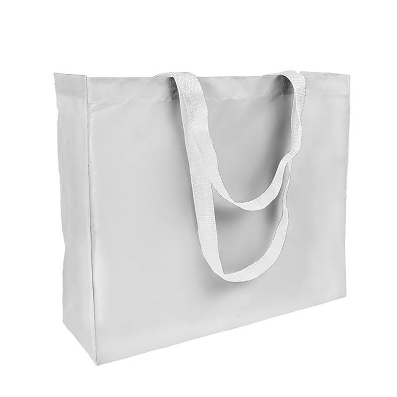 shopper in poliestere bianco con soffietti e manici bianchi