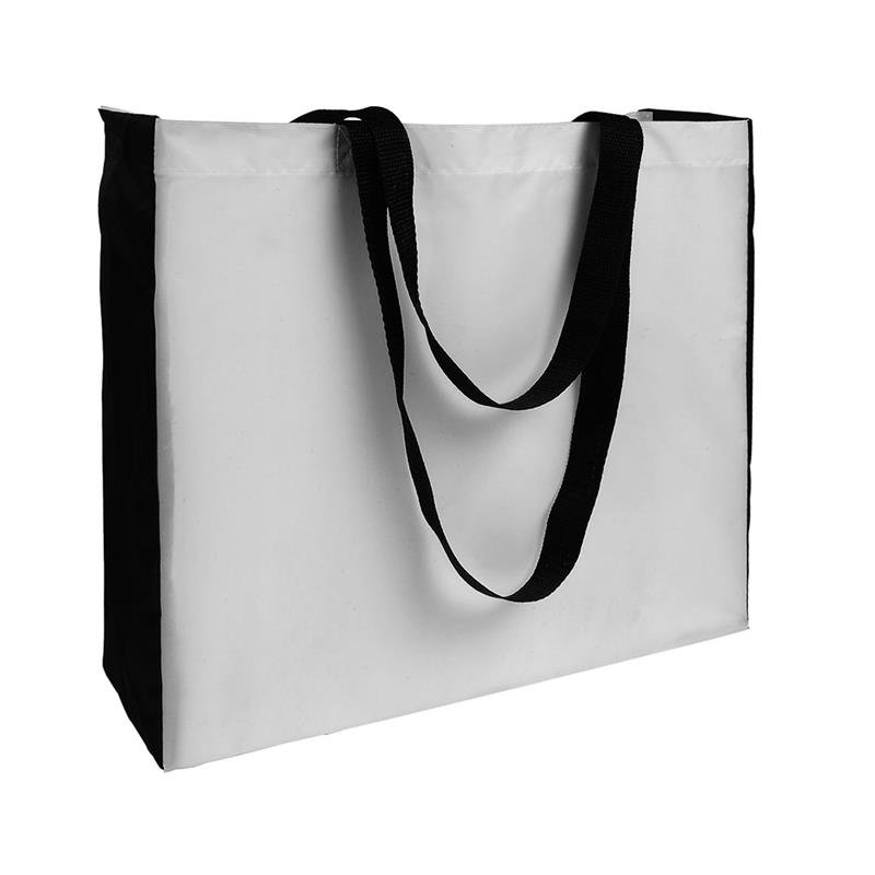 shopper in poliestere bianco con soffietti e manici neri