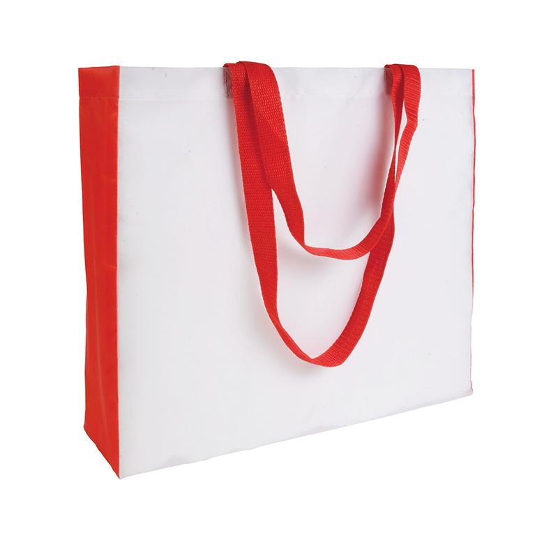 shopper in poliestere bianco con soffietti e manici rossi