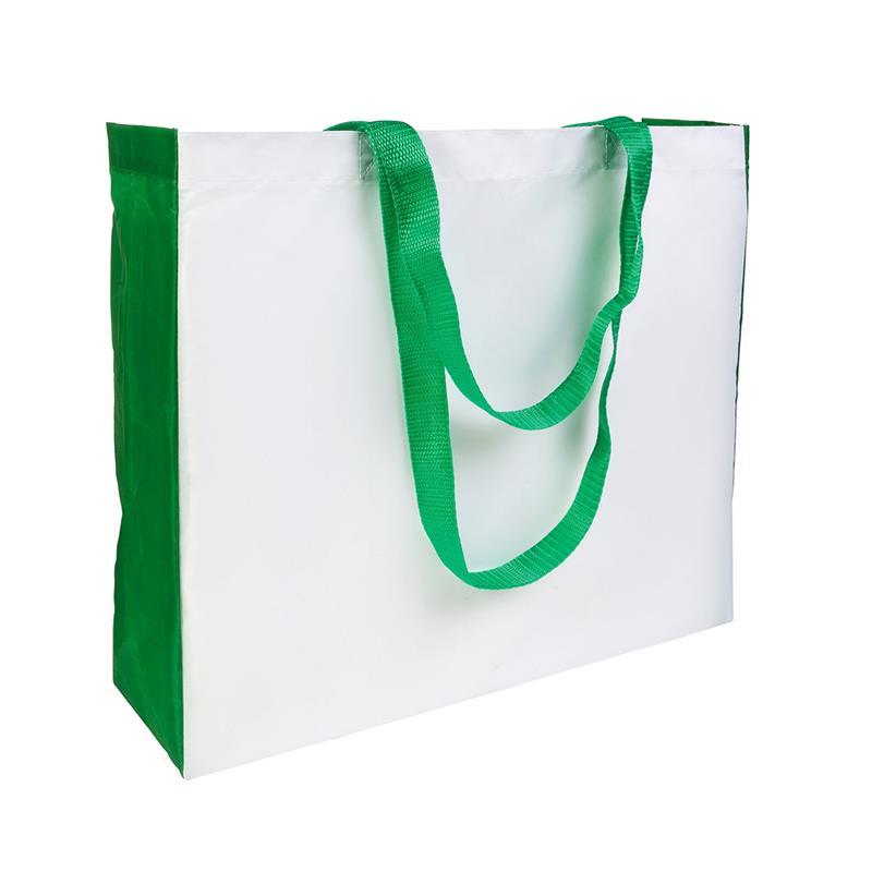 shopper in poliestere bianco con soffietti e manici verdi