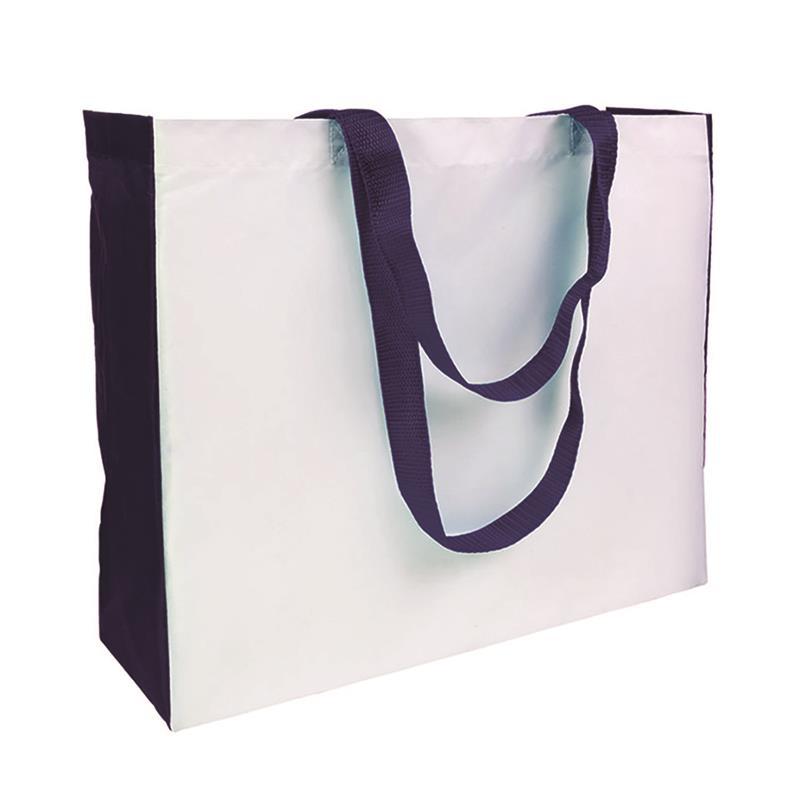 shopper in poliestere bianco con soffietti e manici blu navy