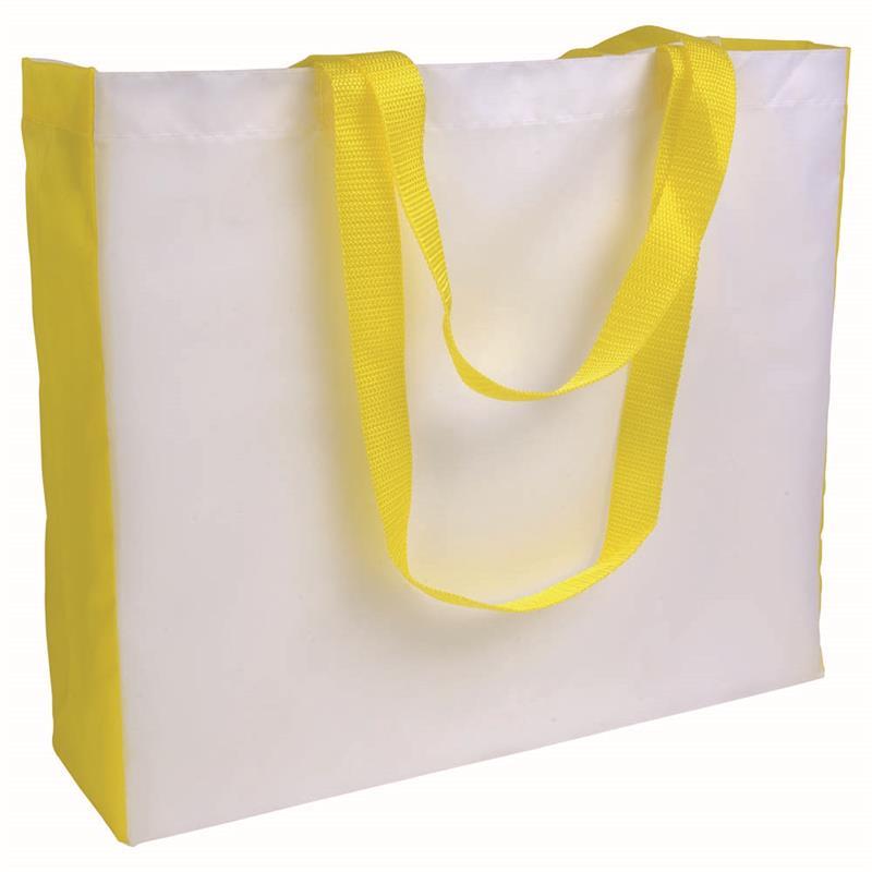 shopper in poliestere bianco con soffietti e manici gialli