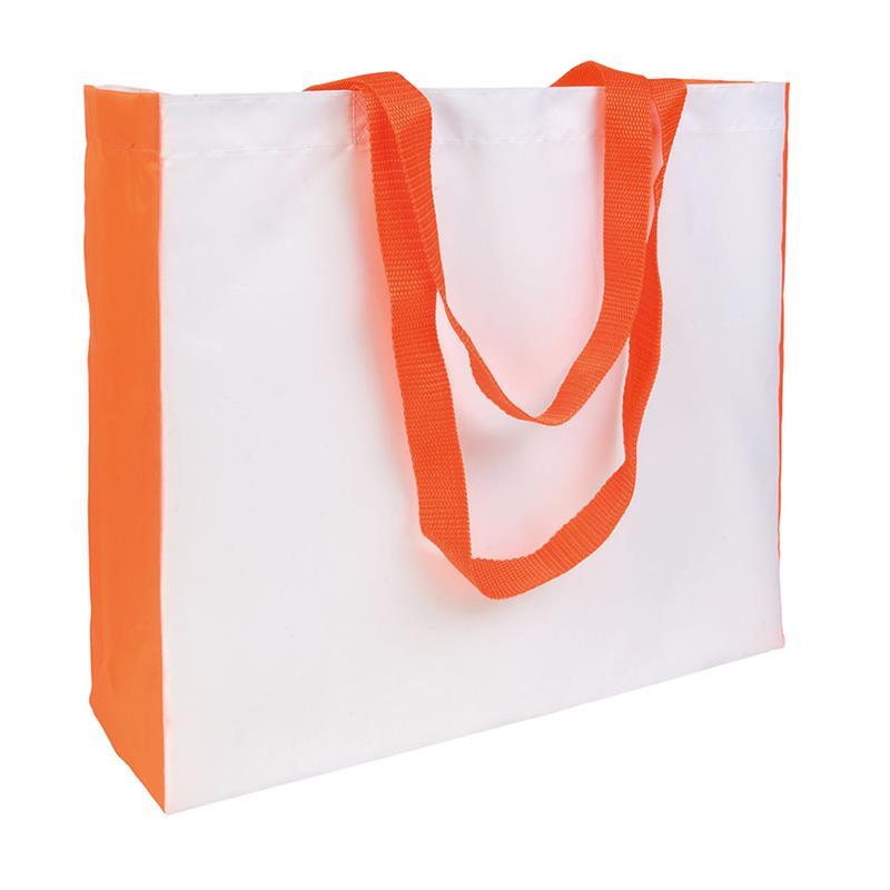 shopper in poliestere bianco con soffietti e manici arancio