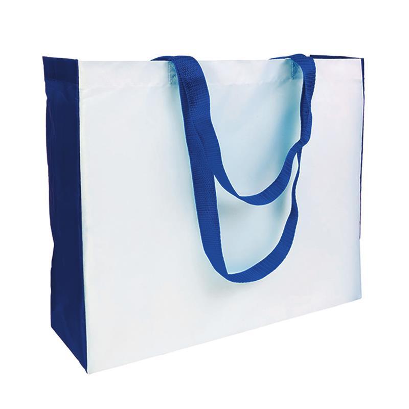 shopper in poliestere bianco con soffietti e manici blu royal