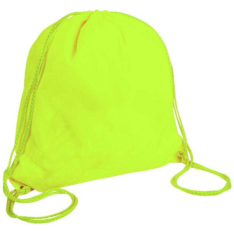 sacca in poliestere giallo fluo con lacci giallo fluo