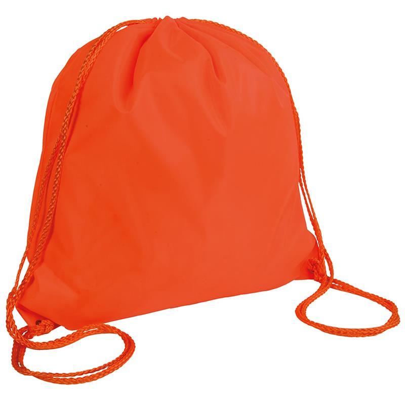 sacca in poliestere arancio fluo con lacci arancio fluo