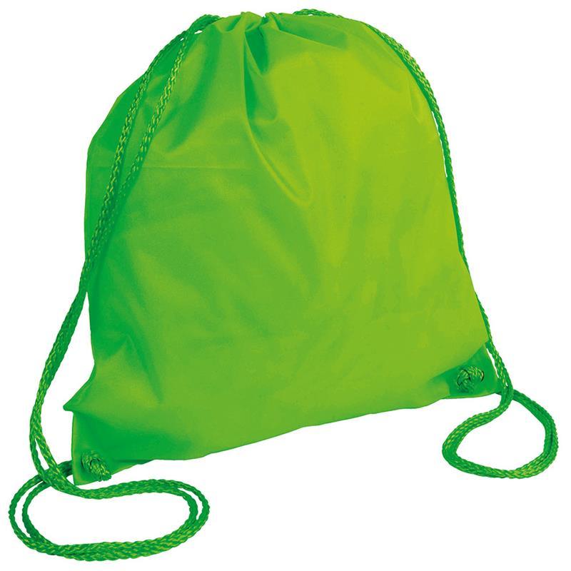 sacca in poliestere verde fluo con lacci verde fluo